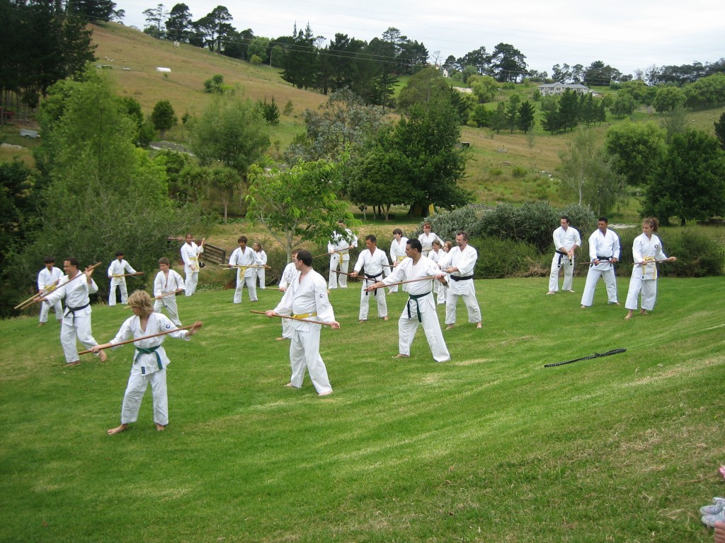 Aikido Auckland - weapons out on the lawn at Silverdale